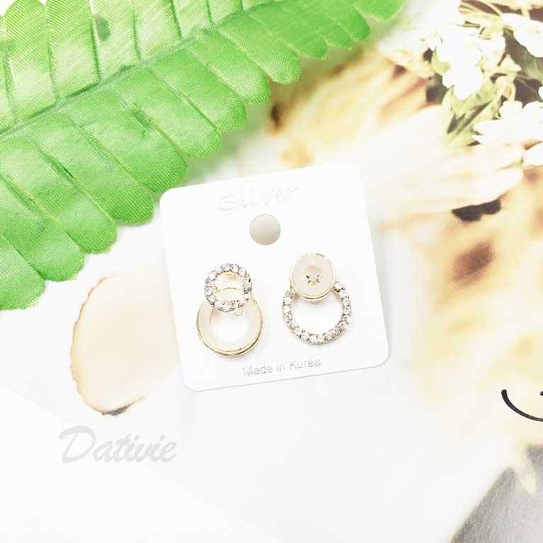 925純銀 圓圈 大理石 鑽 不對稱 耳針式耳環