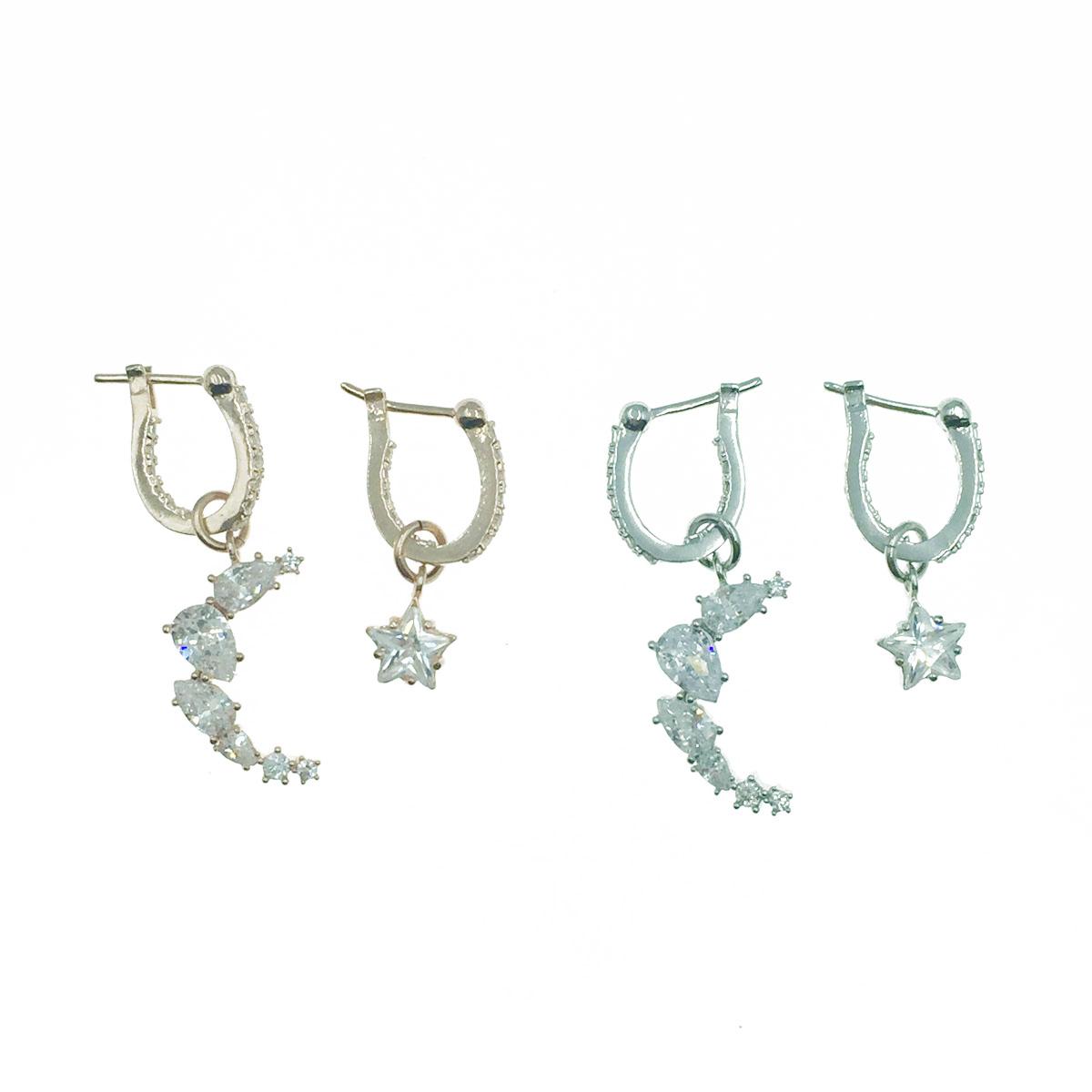 韓國 925純銀 韓劇 德魯納酒店 IU同款耳環 月亮星星鑽 2色 耳針式耳環