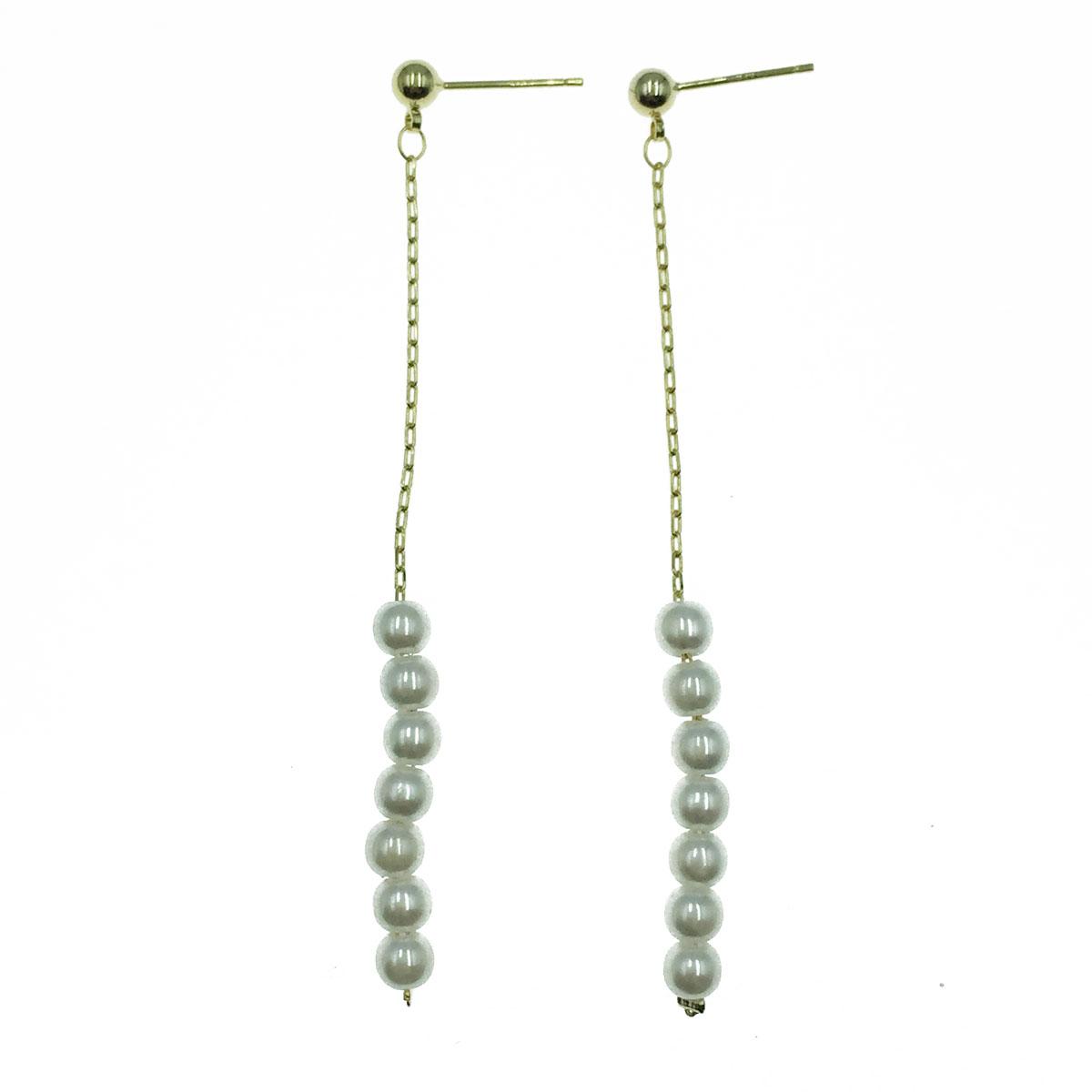 韓國 925純銀 珍珠 鍊子 氣質 垂墜感 耳針式耳環