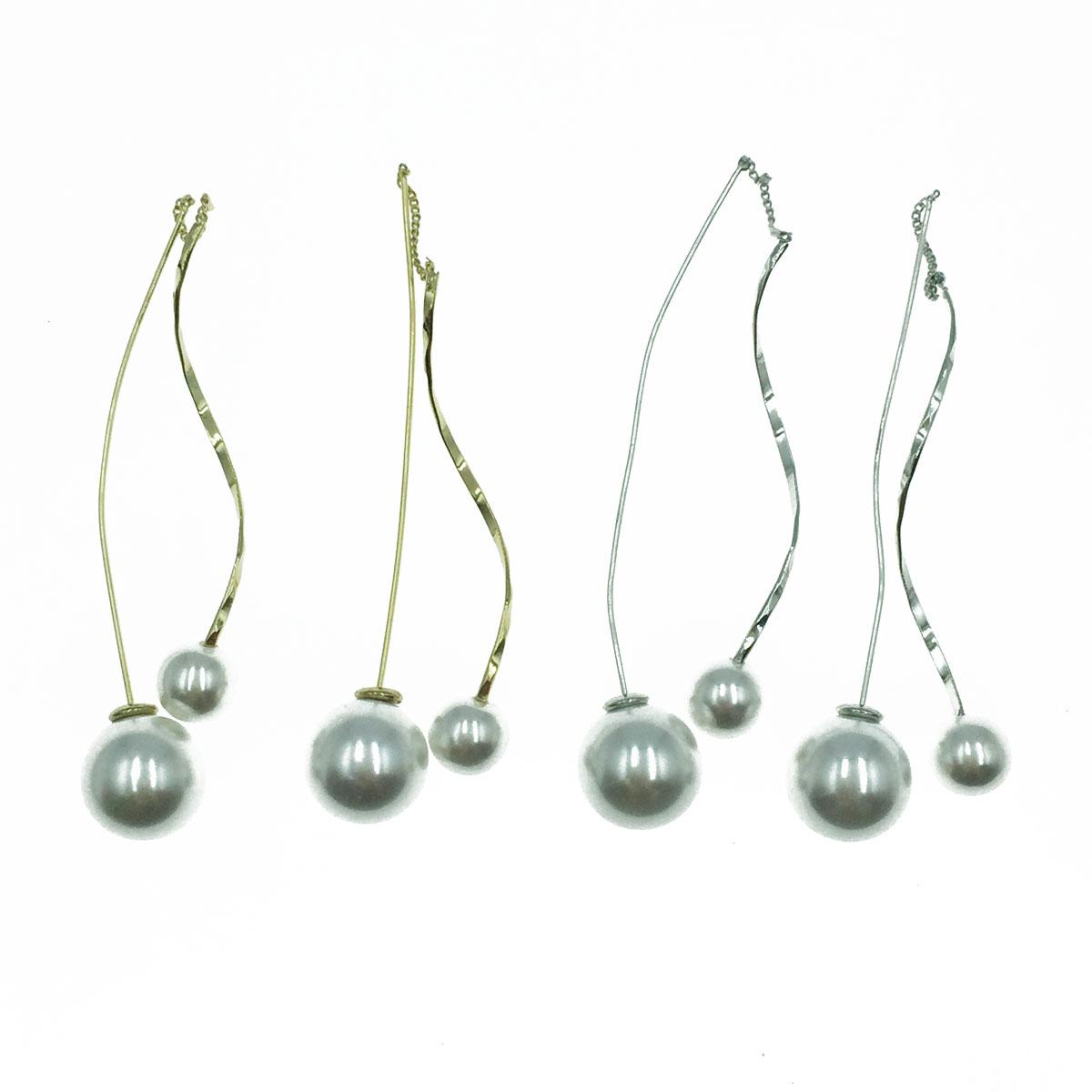 韓國 925純銀 不規則 曲線 珍珠 氣質 垂墜感 耳針式耳環