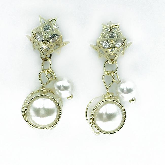 韓國 925純銀 星星 珍珠 金線 鑽 華麗 垂墜感 耳針式耳環