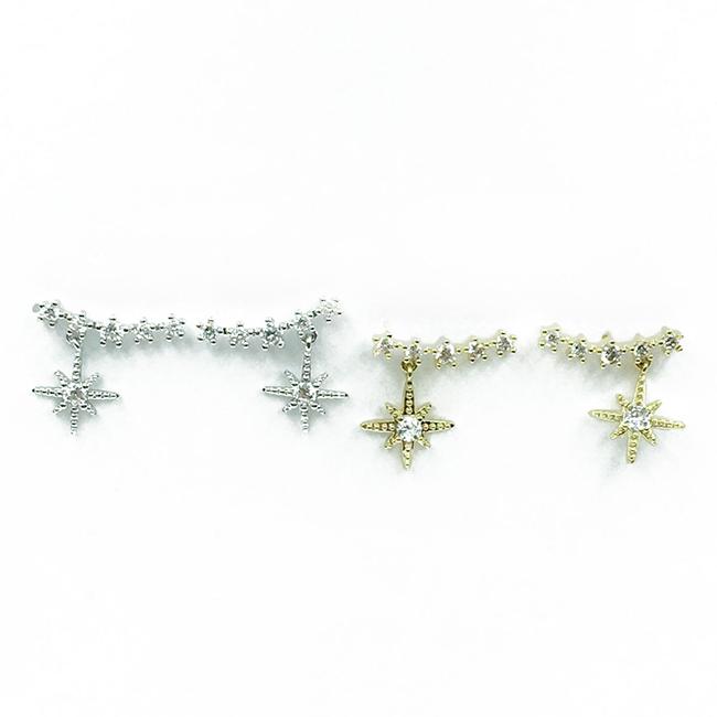 韓國 925純銀 星星 鑽 華麗 垂墜感 耳針式耳環