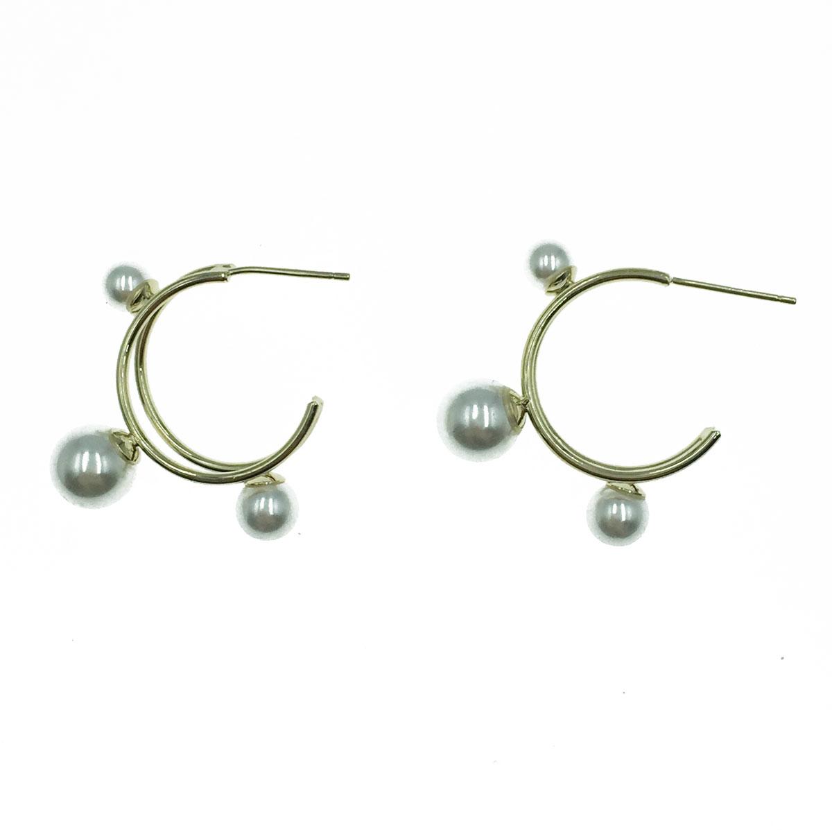 韓國 925純銀 線條 珍珠 C型 氣質 垂墜感 耳針式耳環