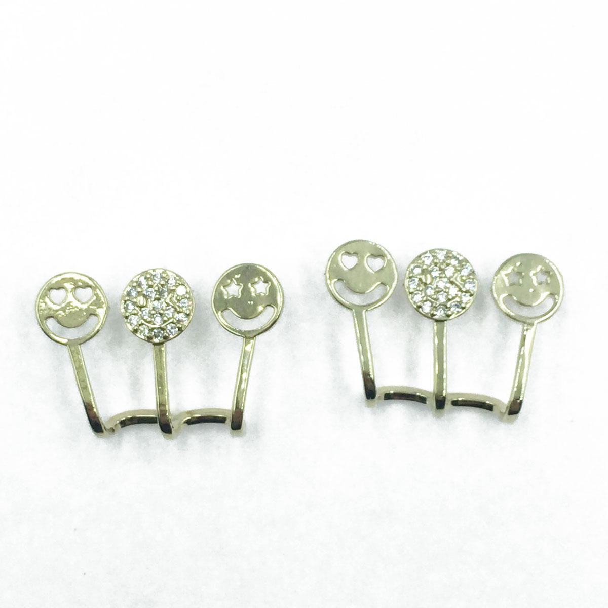 韓國 925純銀 微笑簍空 一排 鑽 耳針式耳環