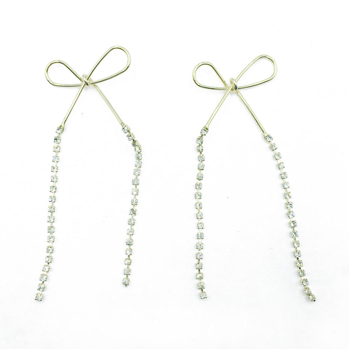 韓國 925純銀 線條感蝴蝶結 鑽鍊 垂墜耳針式耳環