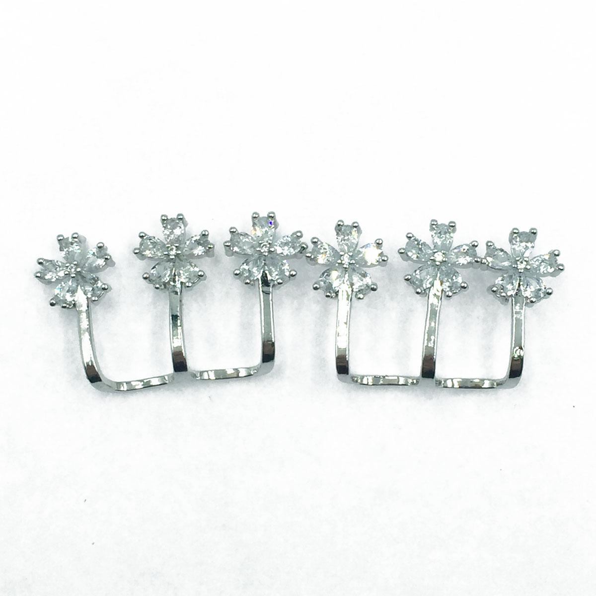 韓國 925純銀 花朵造型鑽 三排 耳針式耳環