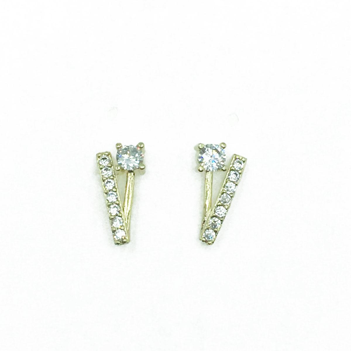 韓國 925純銀 V造型 水鑽 耳針式耳環