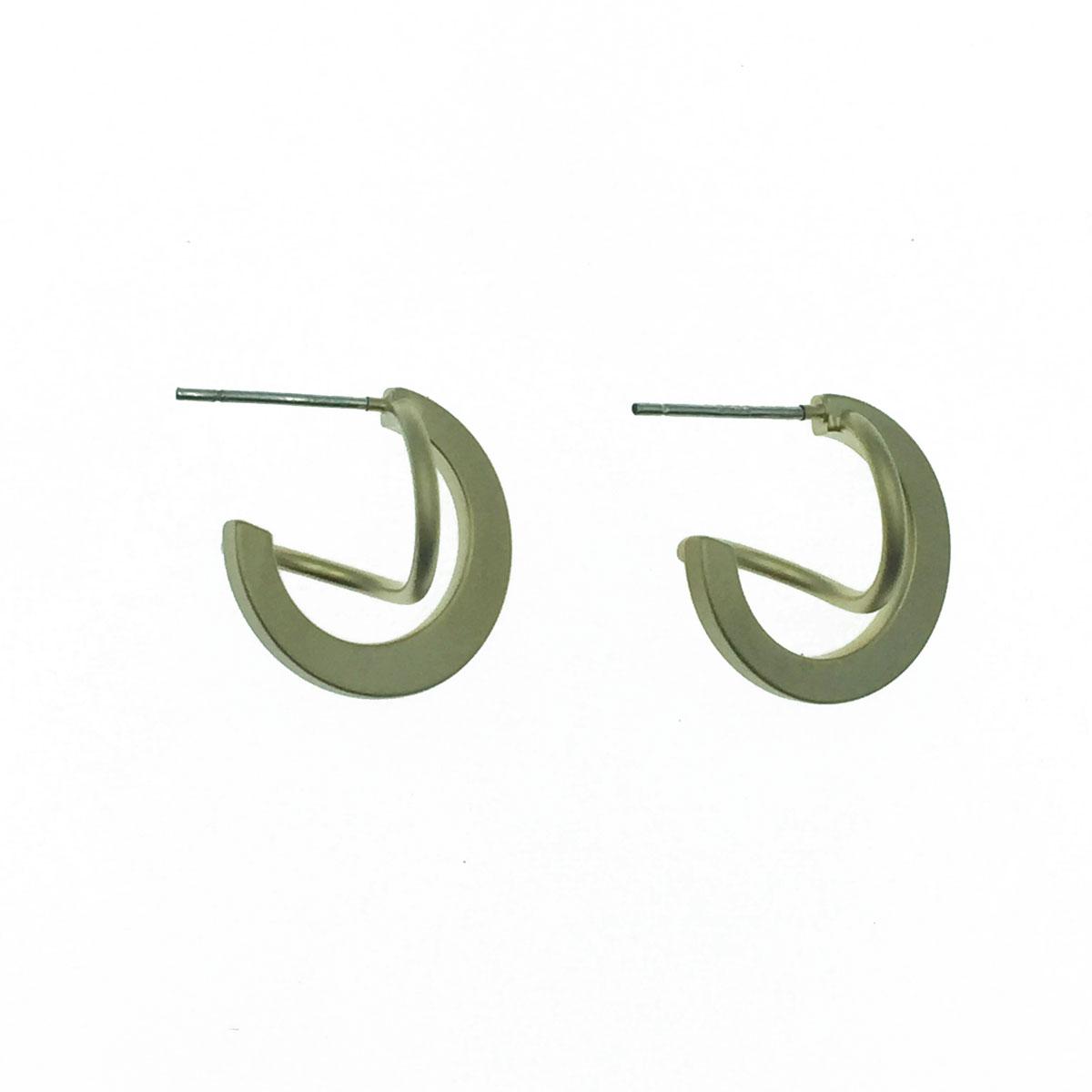 韓國 925純銀 不規則線條 霧面金 C型 耳針式耳環
