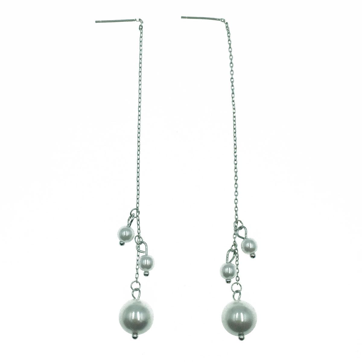 韓國 925純銀 大小珍珠 氣質垂墜感耳針式耳環