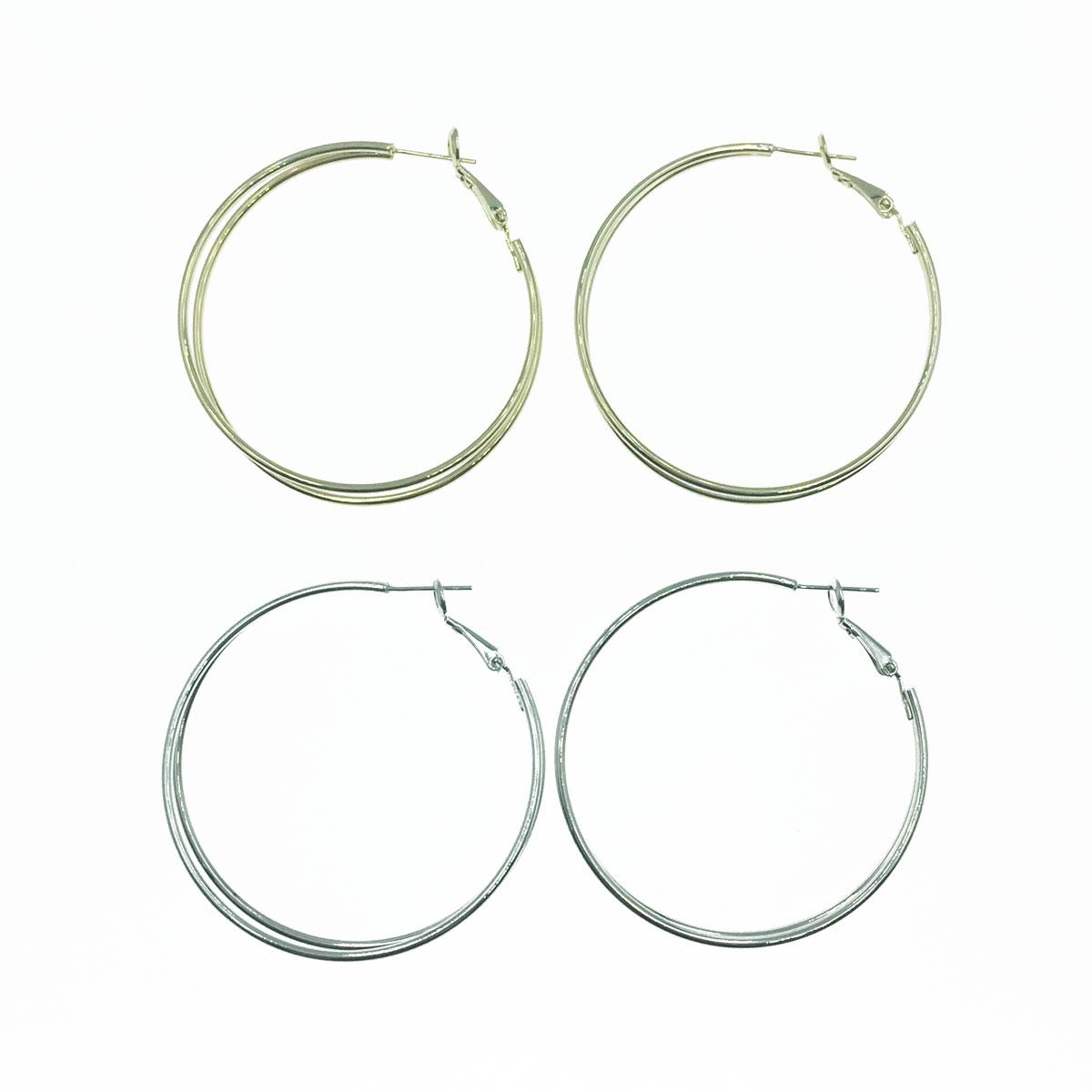 韓國 925純銀 雙線條 大圓圈 耳針式耳環