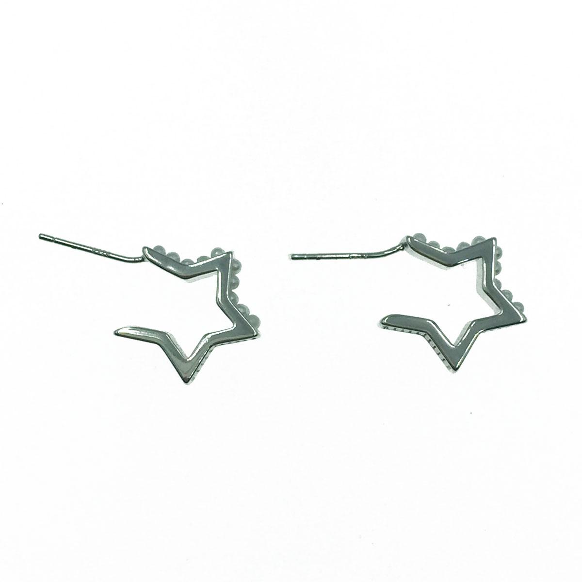 韓國 925純銀 星星簍空 點點 珍珠 耳針式耳環