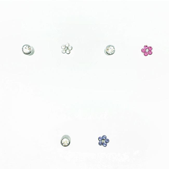 不鏽鋼 小花 水鑽 3色 單鑽 後轉 耳針式耳環