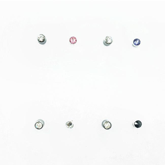 不鏽鋼 水鑽 單鑽 5色 簡約基本款 百搭 後轉式 耳針耳環