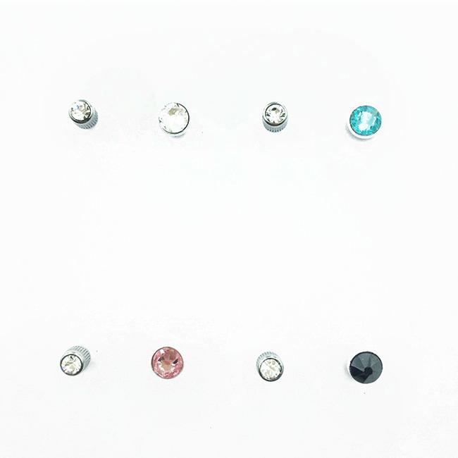 不鏽鋼 單鑽 水鑽 6色 百搭 基本款 後轉 耳針式耳環