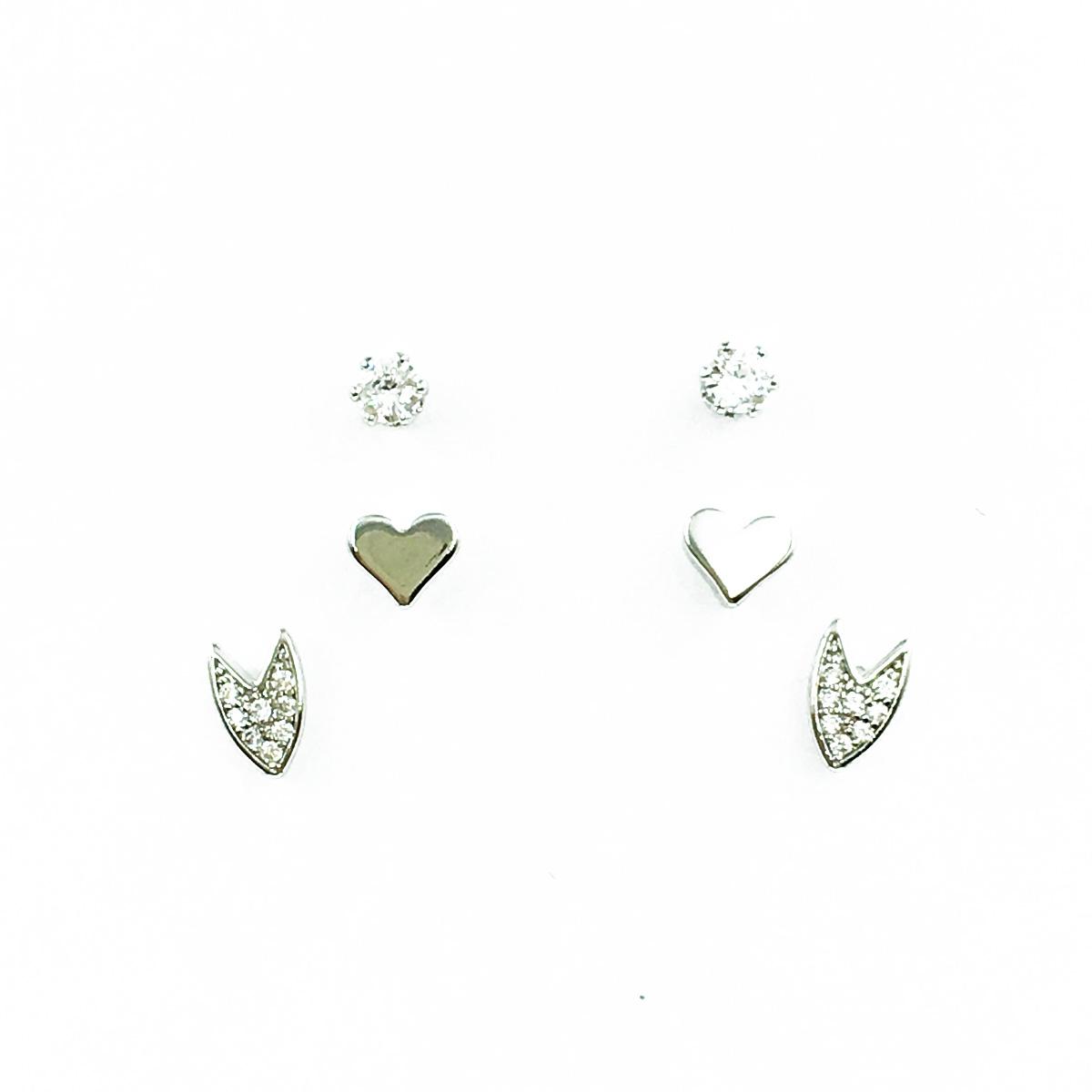 韓國 925純銀 水鑽 愛心 滿版 3對組 可愛甜美 百搭 耳針式耳環