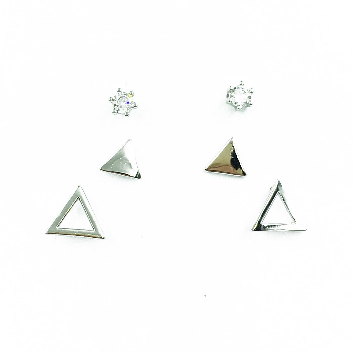 韓國 925純銀 水鑽 三角形 簍空 3對組 簡約百搭款 耳針式耳環