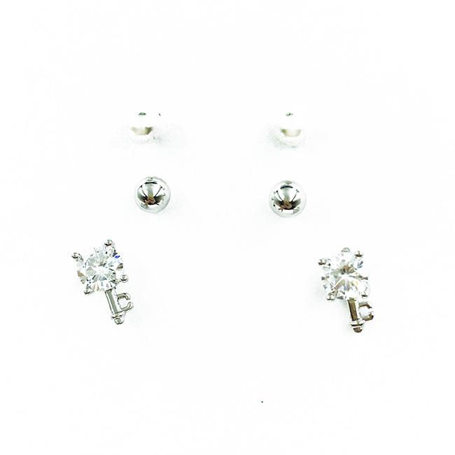 韓國 925純銀 小銀珠 水鑽 鑰匙 珍珠 3對組 甜美風 耳針式耳環
