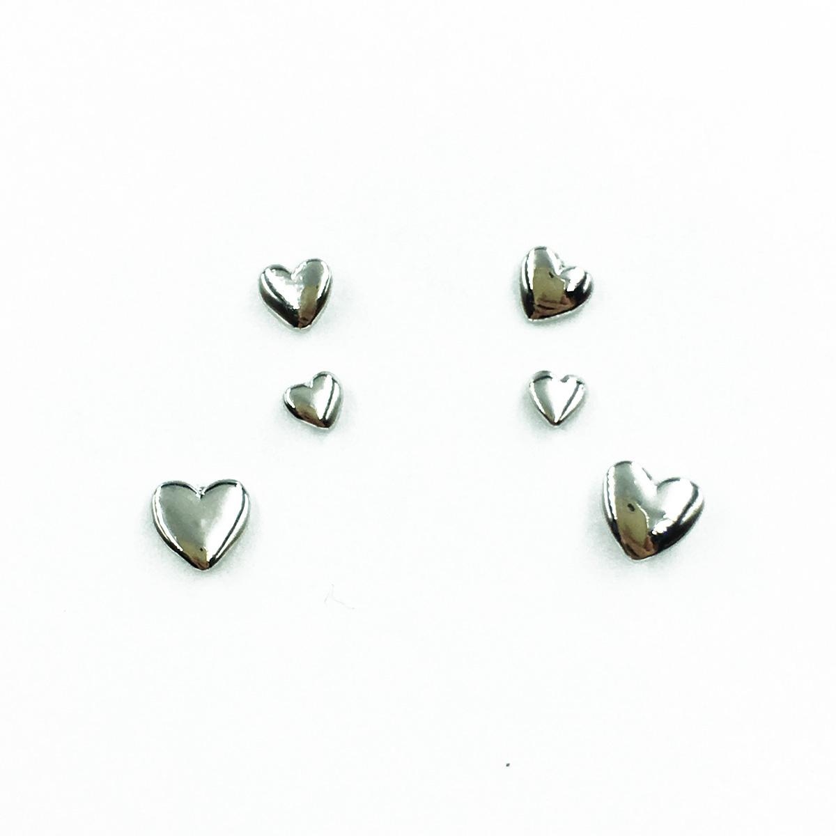 韓國 925純銀 愛心 歐美簡約風 3對組 基本百搭款 耳針式耳環