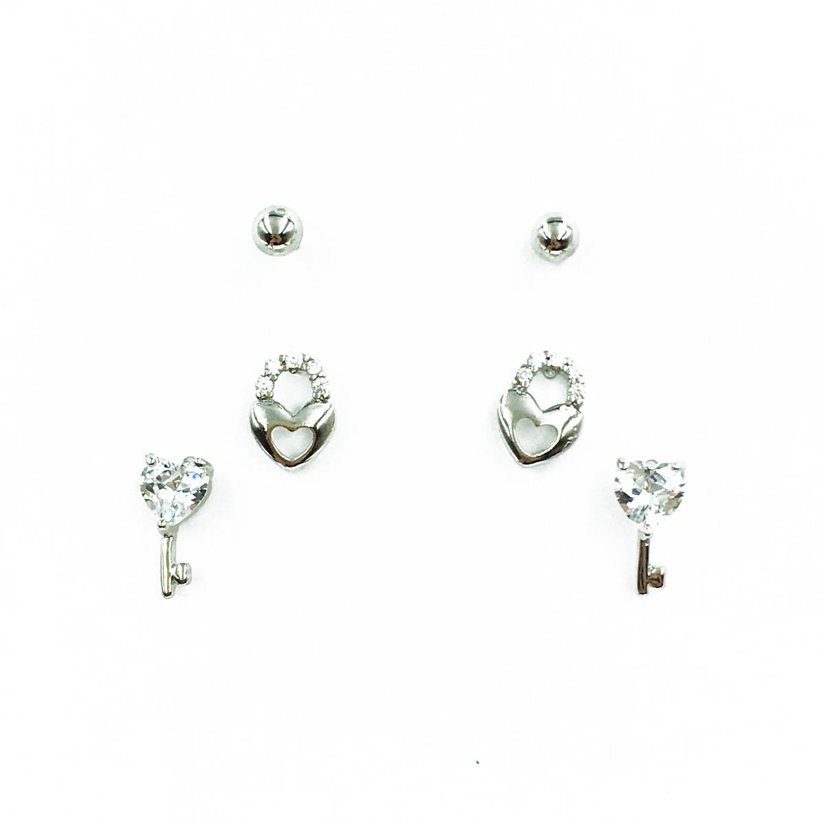 韓國 925純銀 小銀珠 愛心水鑽 鑰匙 愛心鎖頭 3對組 耳針式耳環