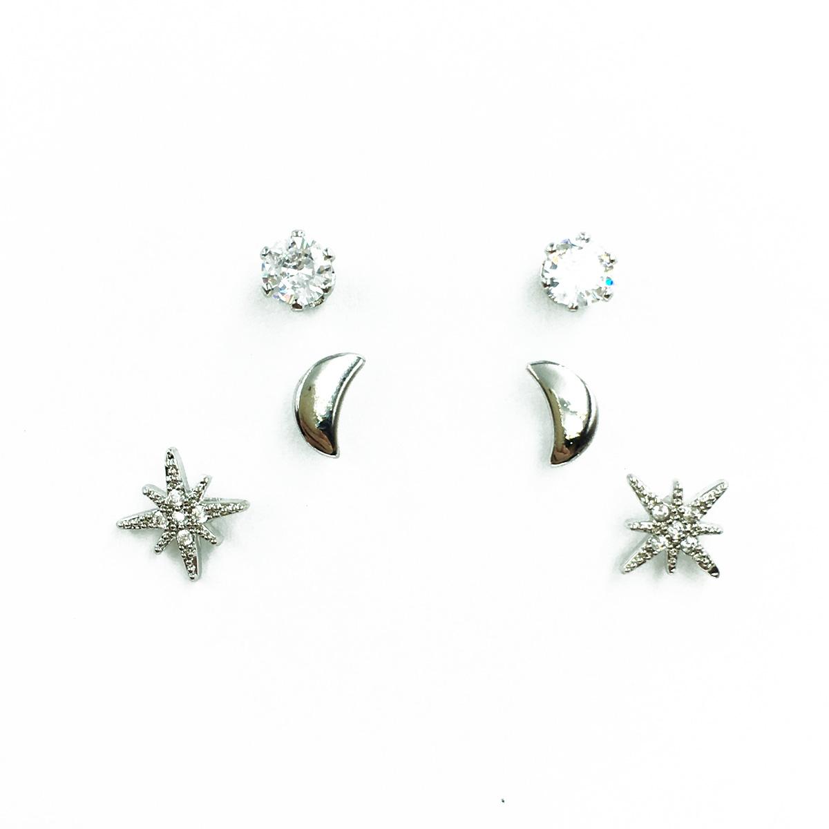 韓國 925純銀 水鑽 月亮 雪花 3對組 精緻 耳針式耳環