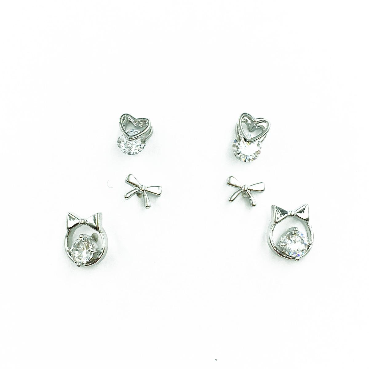 韓國 925純銀 蝴蝶結 水鑽 夾心愛心 簍空 3對組 可愛甜美風 耳針式耳環