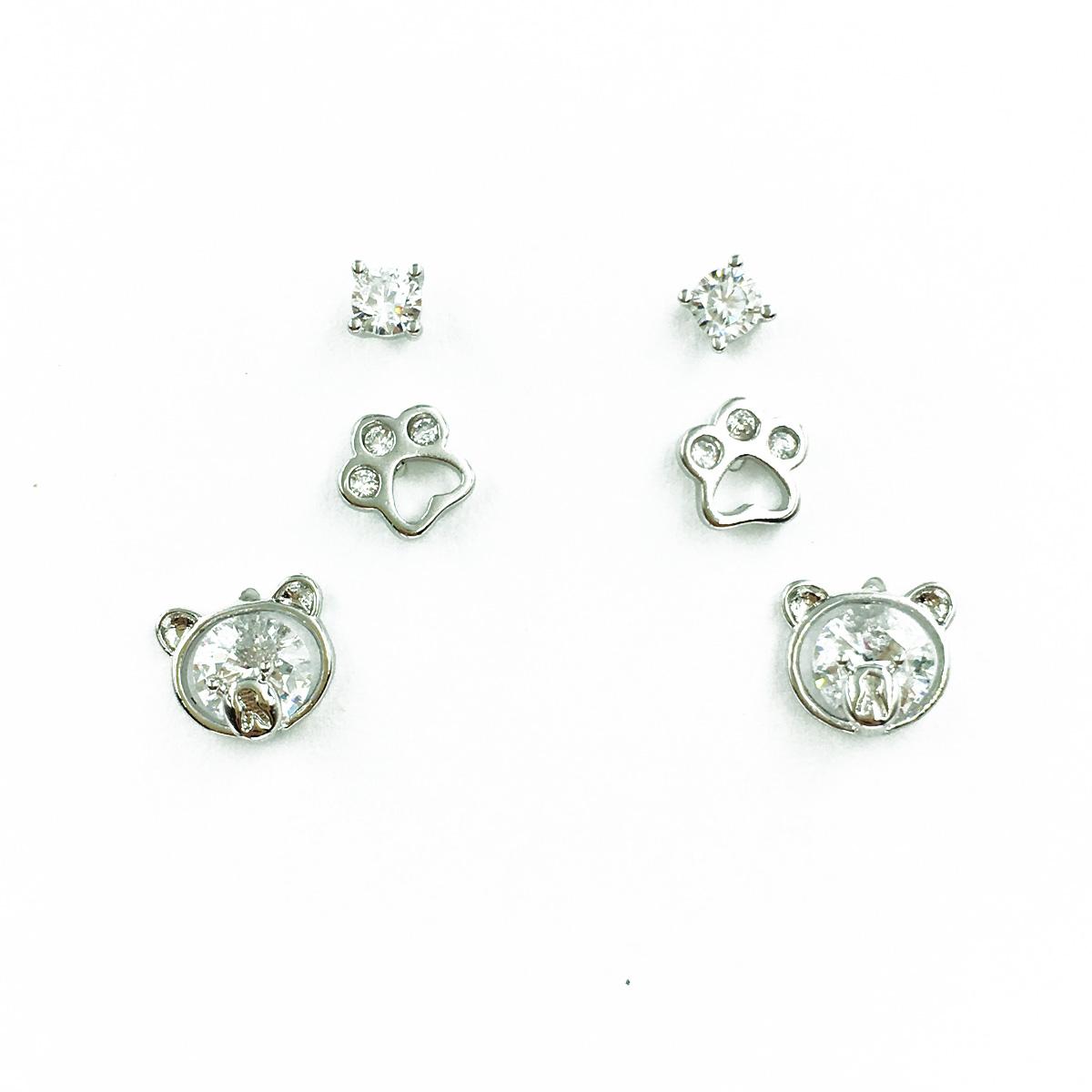 韓國 925純銀 可愛小熊 水鑽 腳印 3對組 耳針式耳環