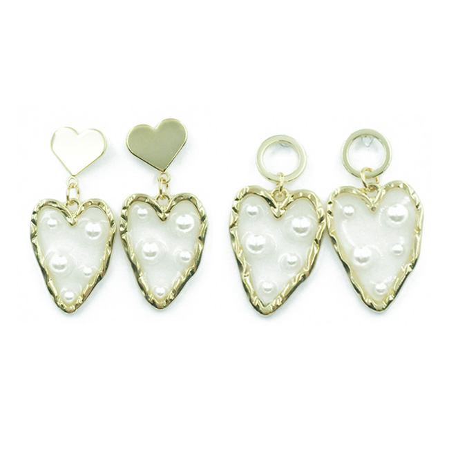 韓國 925純銀 愛心 珍珠 夾心 2款 垂墜感 耳針式耳環