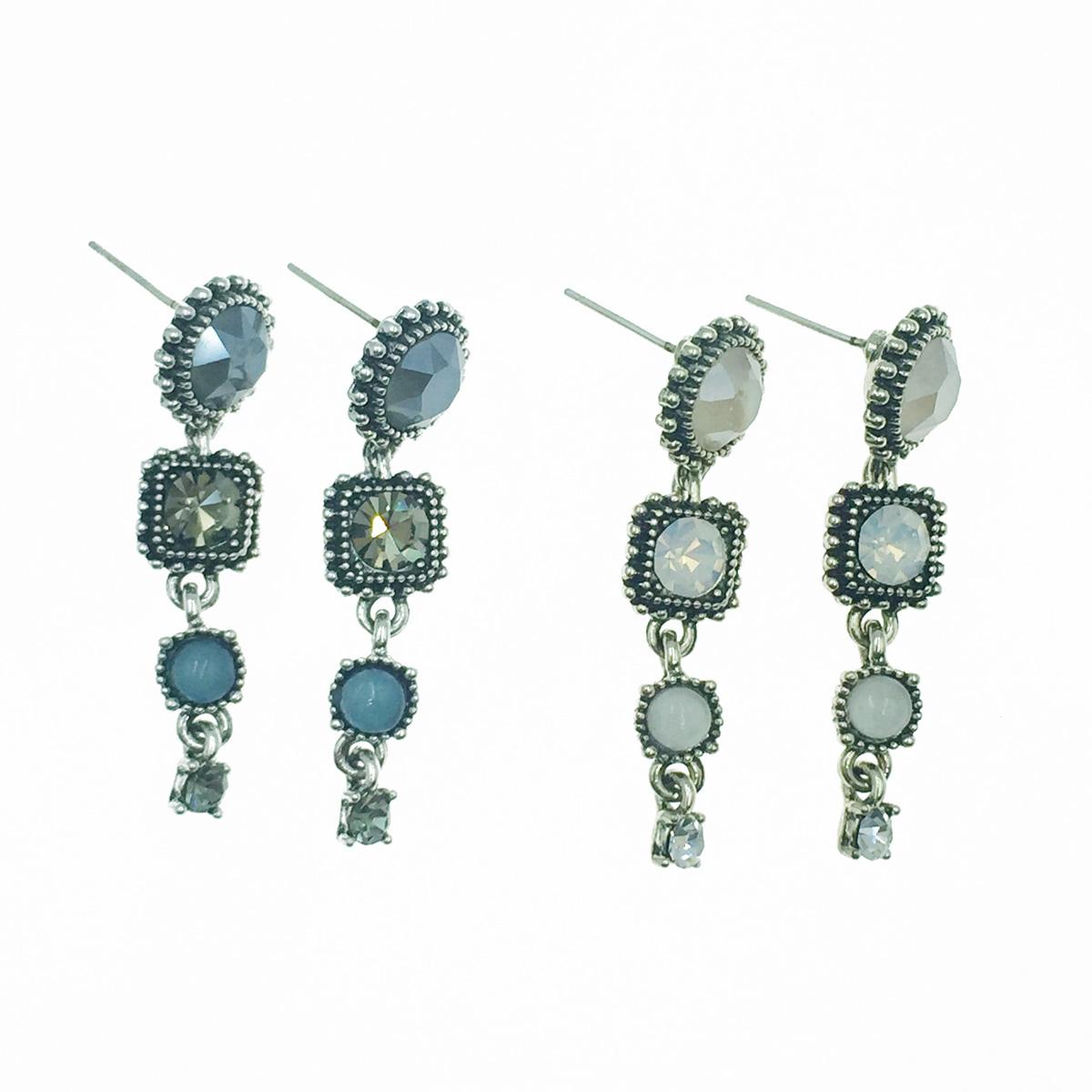 韓國 925純銀 寶石 水鑽 民族風 2色 垂墜感 耳針式耳環