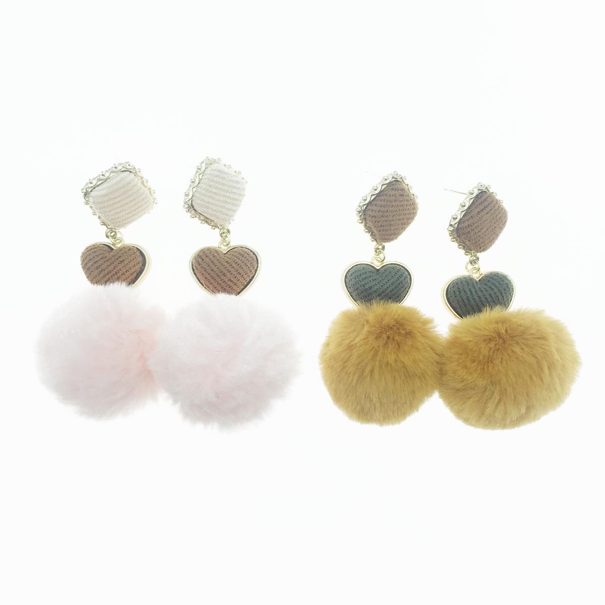 韓國 925純銀 毛球 愛心 布面 2色 垂墜感 耳針式耳環