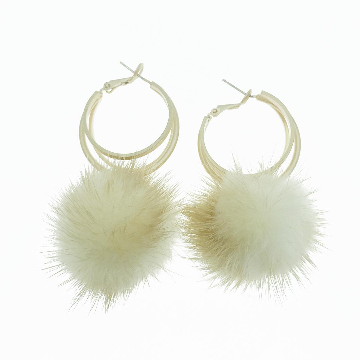 韓國 925純銀 毛球 簍空圓圈 金屬環 垂墜感 耳針式耳環