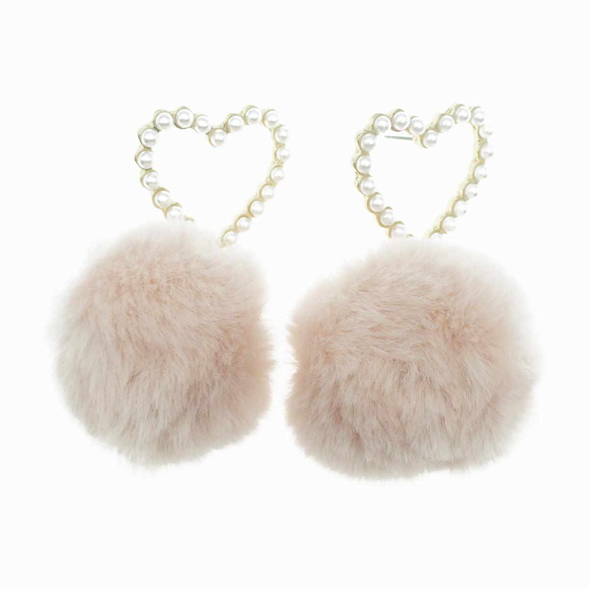 韓國 925純銀 愛心 簍空 珍珠 粉色 毛球 垂墜感 耳針式耳環