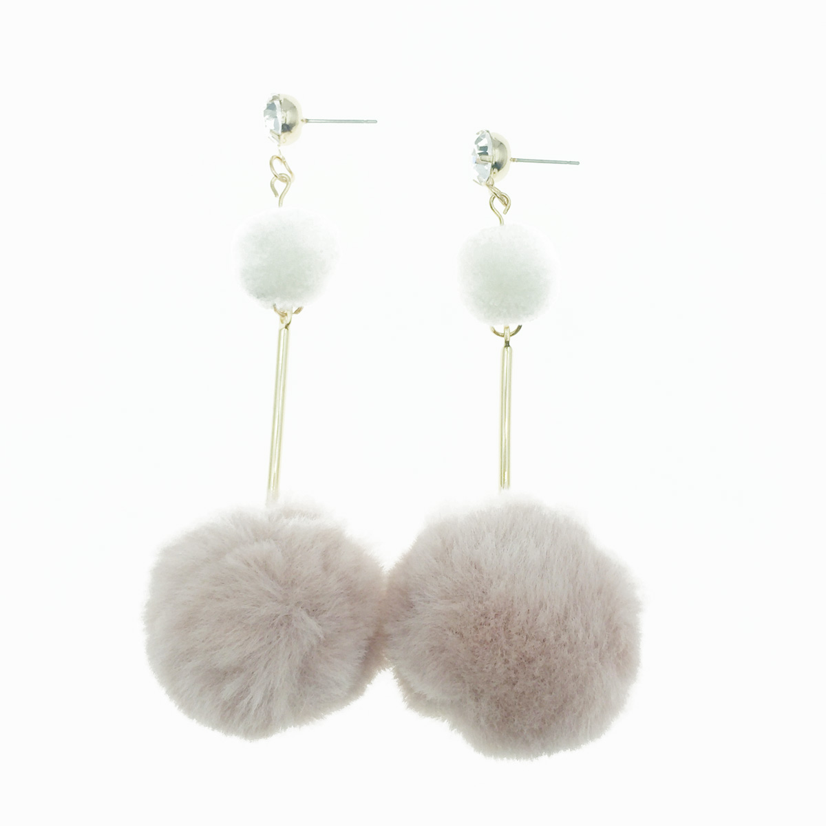 韓國 925純銀 毛球 水鑽 甜美風 垂墜感 耳針式耳環