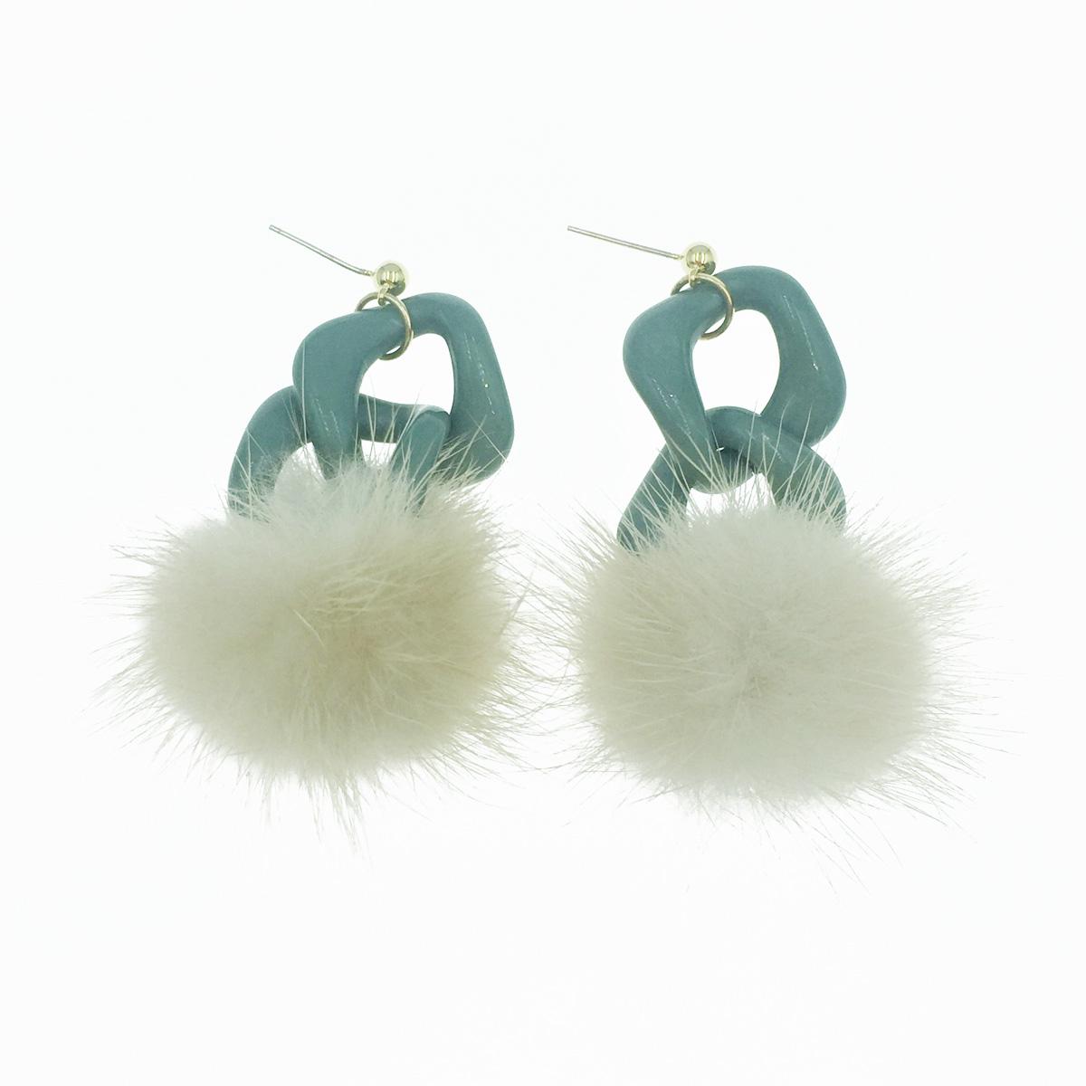 韓國 925純銀 毛球 扣環 小金珠 垂墜感 耳針式耳環