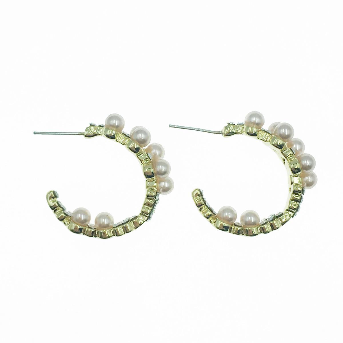 韓國 925純銀 珍珠 水鑽 半圓 氣質甜美 耳針式耳環