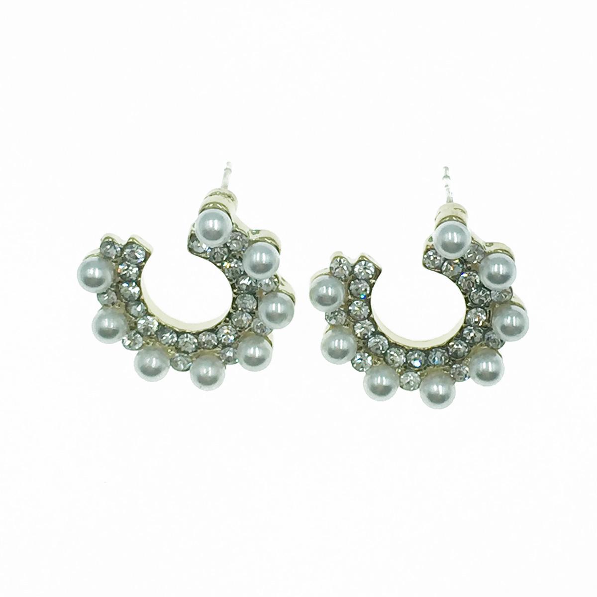韓國 925純銀 珍珠 水鑽 半圓開口 甜美氣質款 耳針式耳環