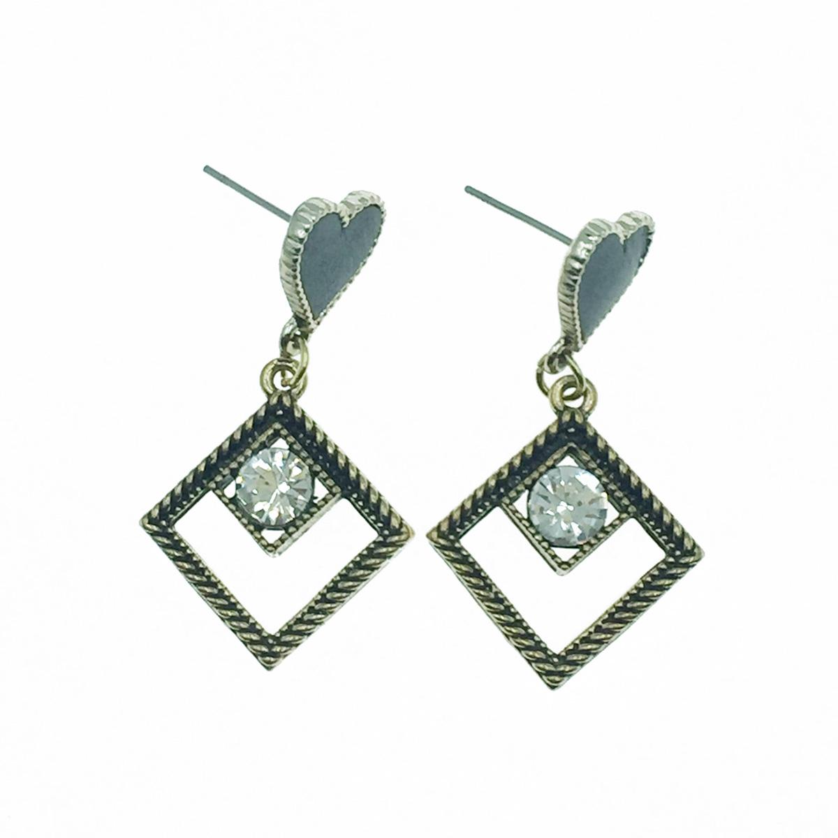 韓國 925純銀 愛心 水鑽 簍空菱形 垂墜感 耳針式耳環