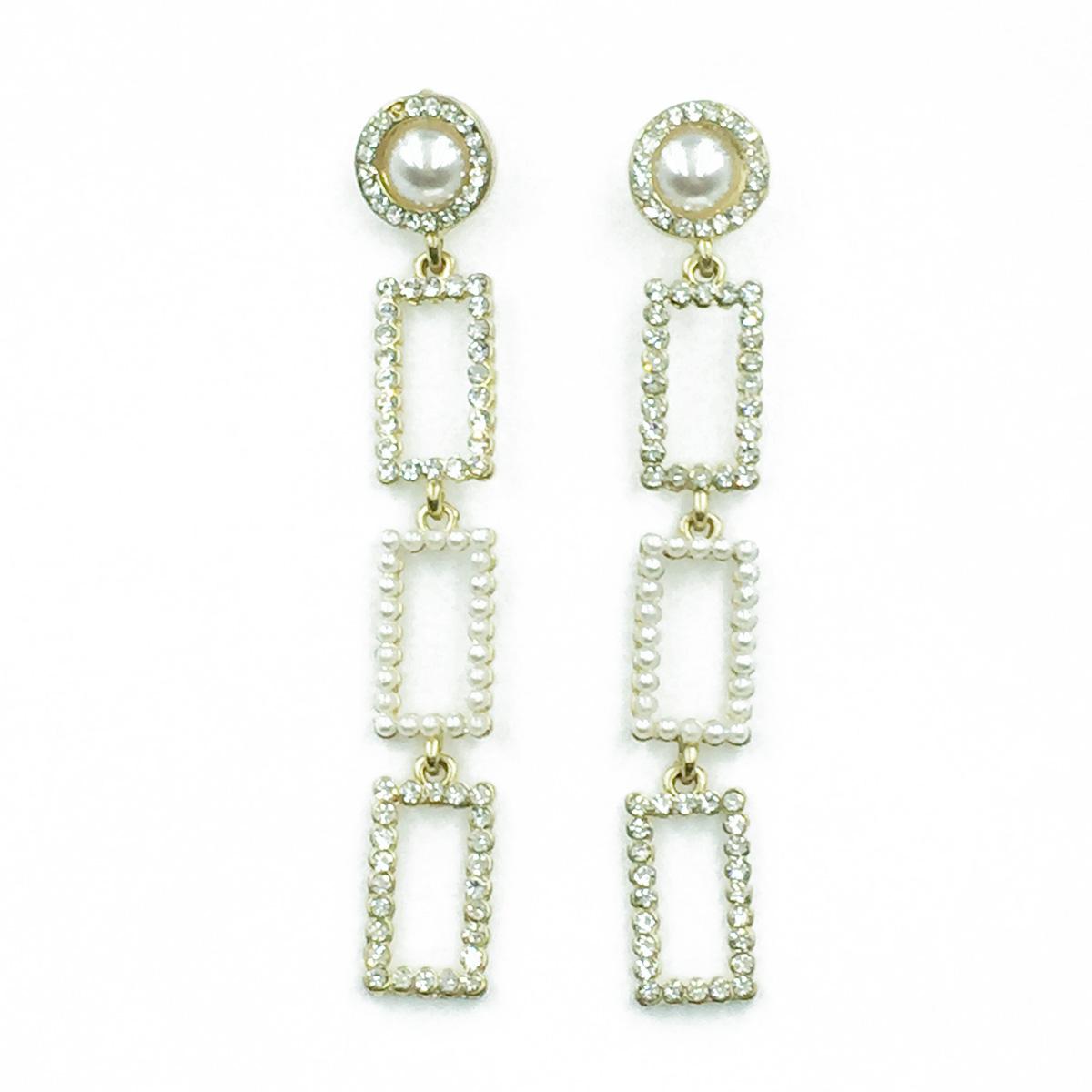 韓國 925純銀 簍空長方形 水鑽 珍珠 垂墜感 耳針式耳環