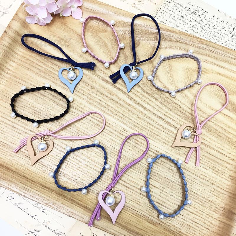 韓國 心型 縷空 愛心 珍珠點綴 髮束2入 兒童 髮圈 橡皮筋 髮飾 隨機 不挑款