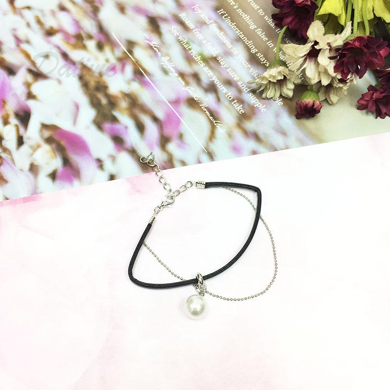 個性 甜美 反差 珍珠 皮革 銀色細鍊 雙層 可調扣式 手鍊 手環 手飾