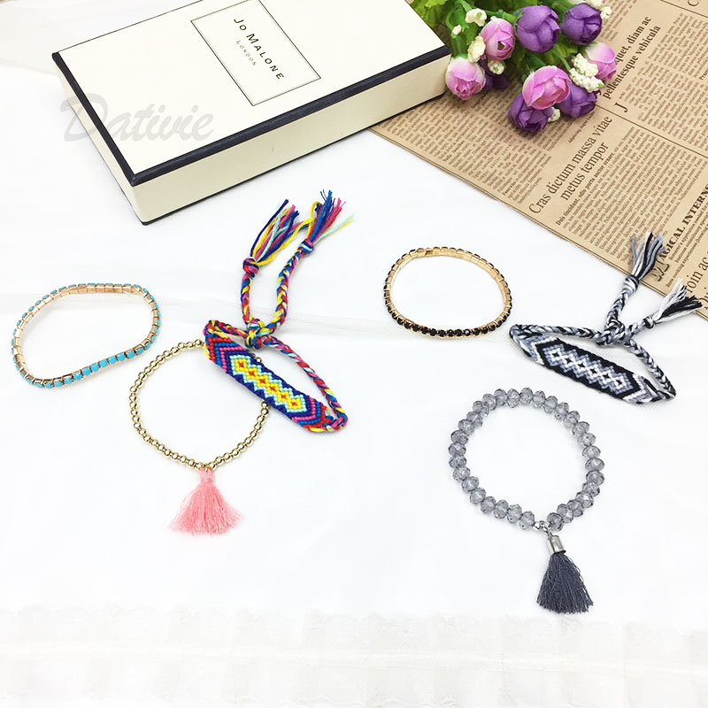 韓國 海洋風 暗色系 圖騰漸層多色毛線綁帶 涼感金色珠珠流蘇 單一色 三入 手鍊 手環 手飾
