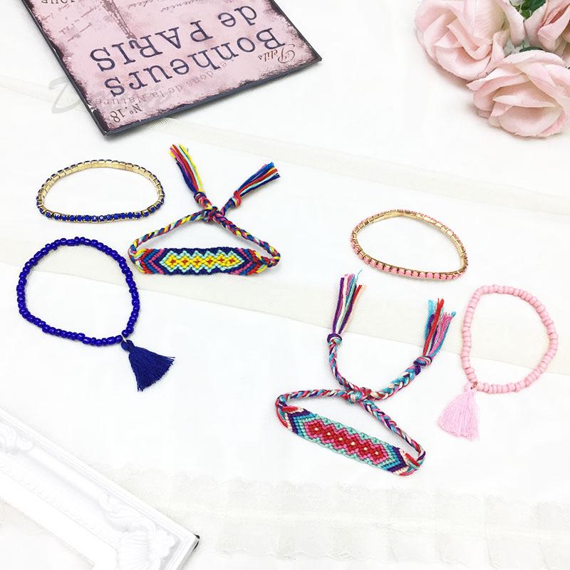 韓國 甜甜果實 深藍 圖騰漸層 多色毛線綁帶 涼感 金色珠珠 流蘇 同色系 三入 手鍊 手環 手飾