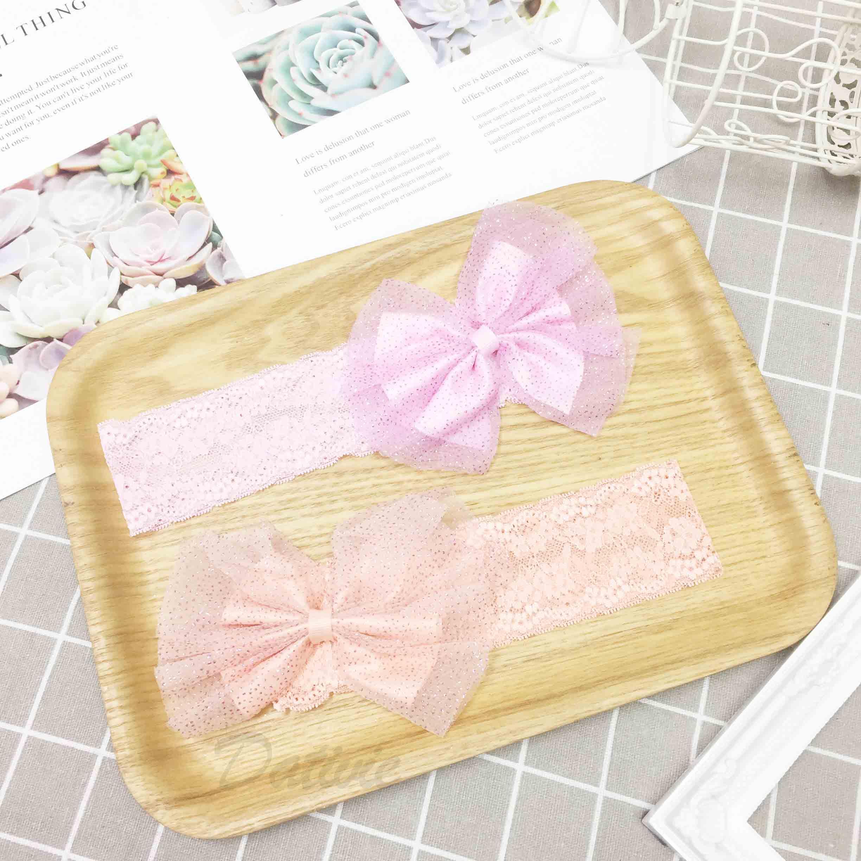 粉紫 粉橘 夢幻小公主 髮帶 亮蔥紗網蝴蝶結 蕾絲 兒童髮飾