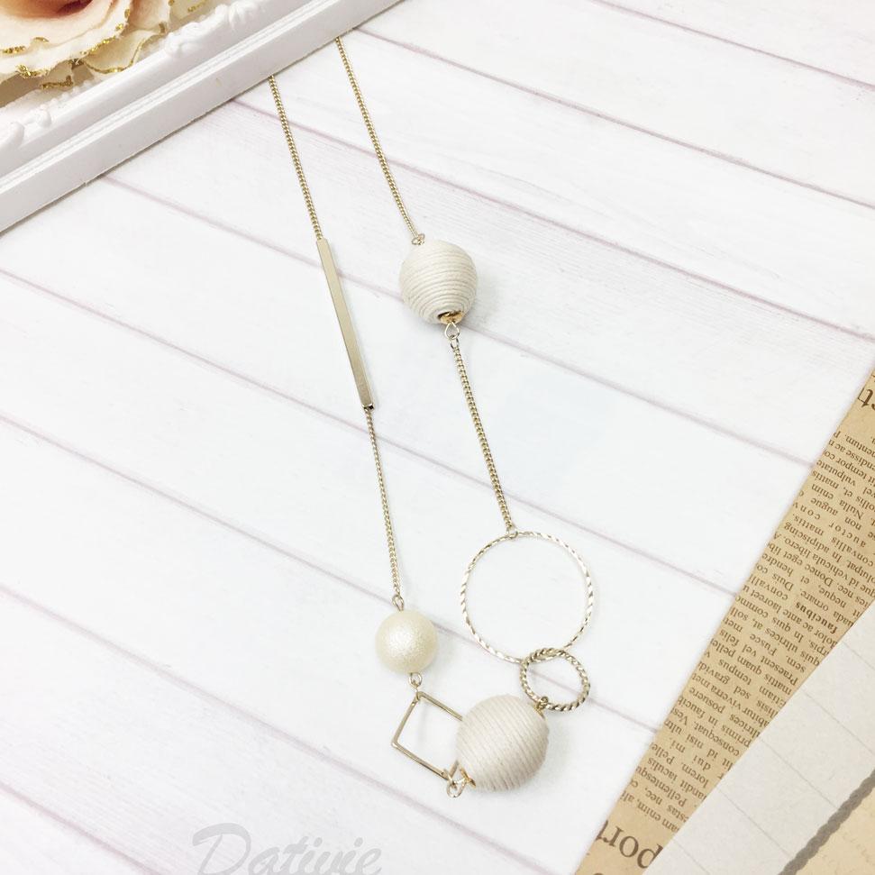 韓國 金屬  鏤空 圓形 珍珠白 線球 幾何 長項鍊
