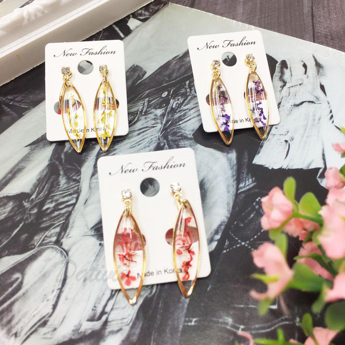 韓國 長條 圖型 水晶 壓花 透明感 水鑽 夾式耳環