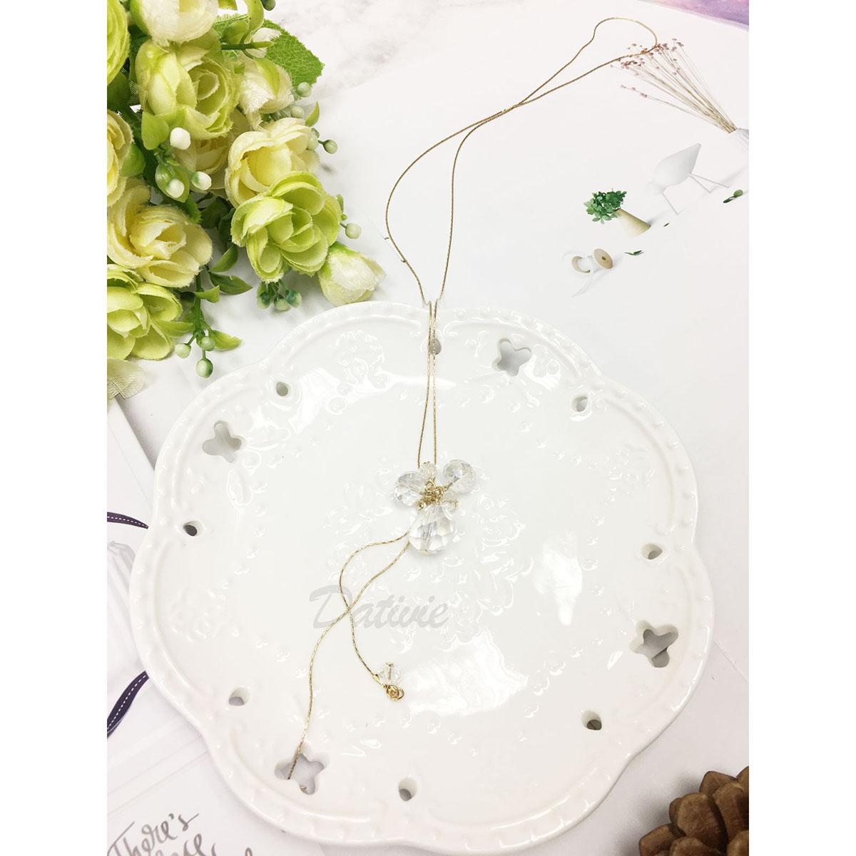 韓國 水晶 葡萄串 金鍊 不對稱 長項鍊