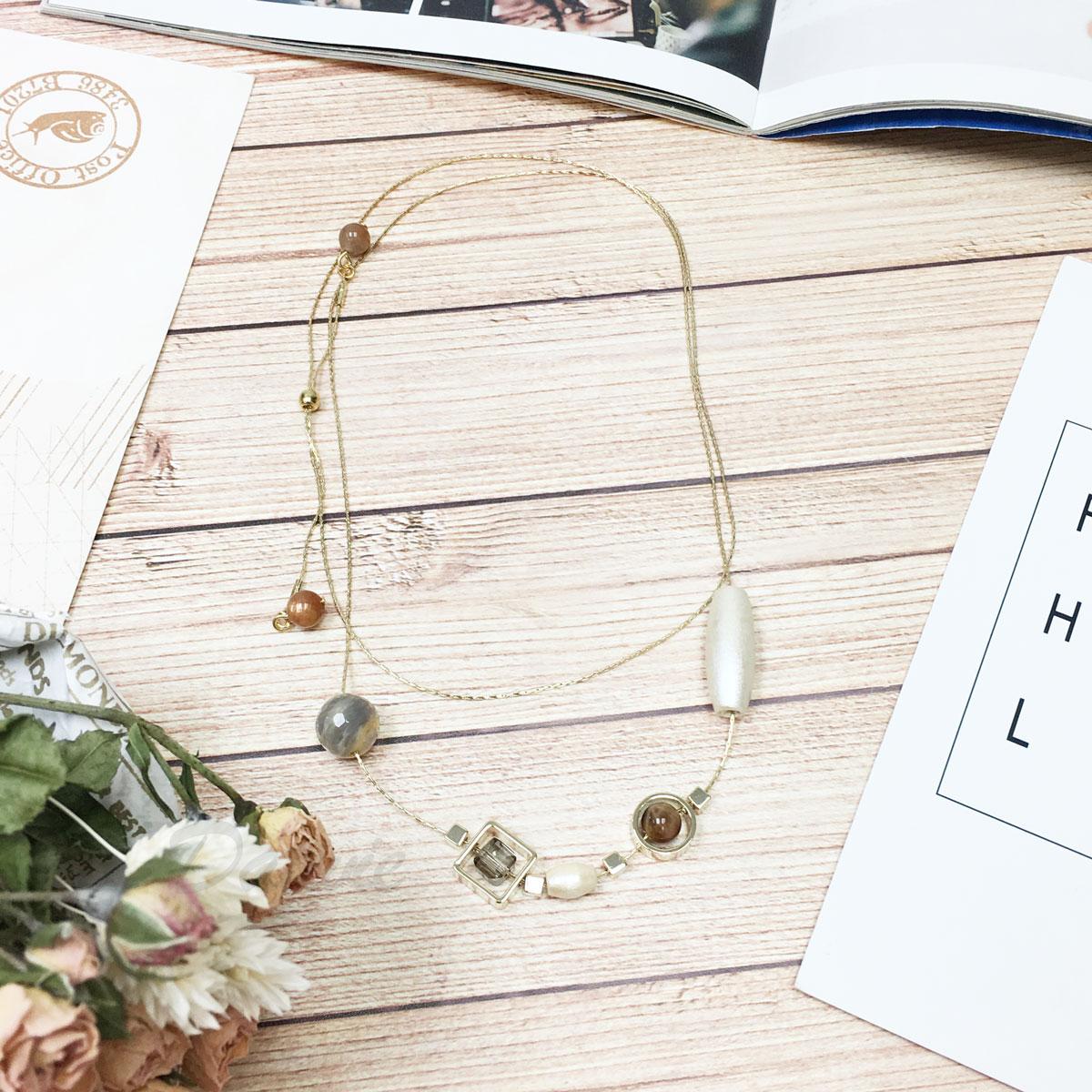 韓國 水晶 鏤空 圓形 方形 暈染 珍珠光澤 長項鍊