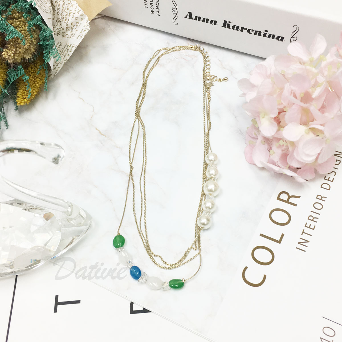 韓國 多層次 珍珠 寶石 水晶 短項鍊