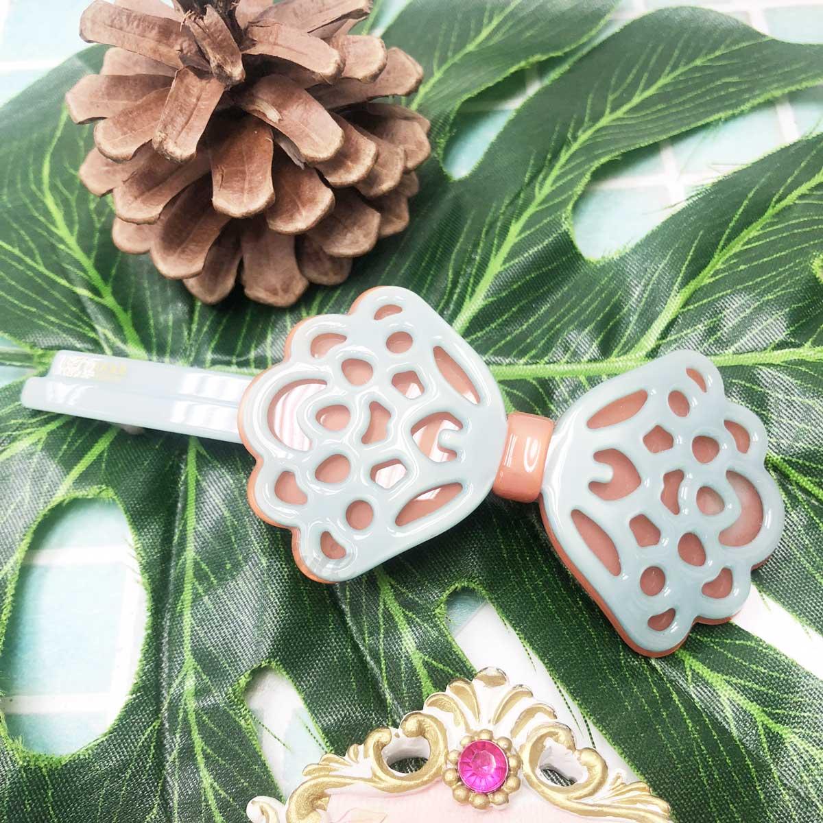 韓國 GRAIN DE BEAUTE AZNAVOUR 復古 鏤空 雕花 雙色 蝴蝶結 自動夾