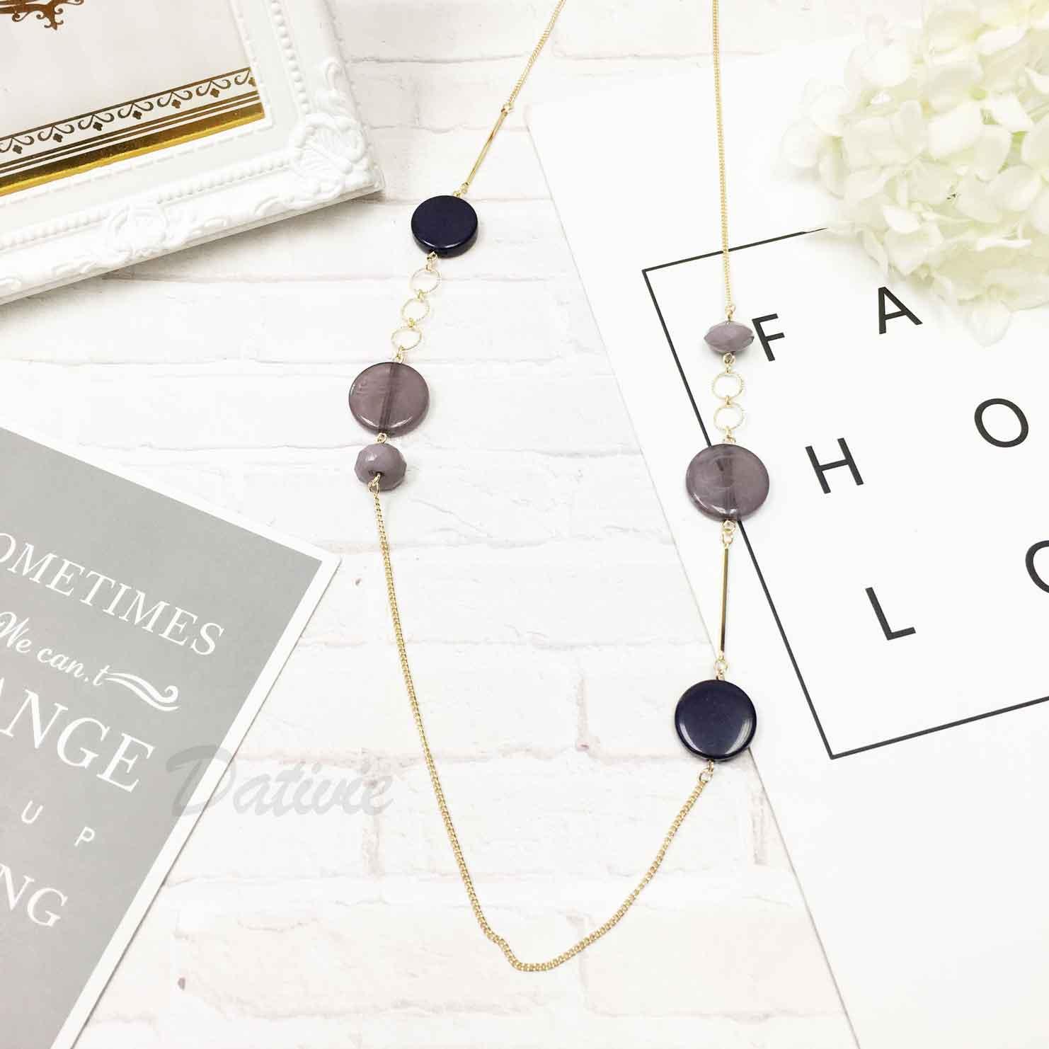 韓國 時尚個性 紫藍色 質感 長項鍊