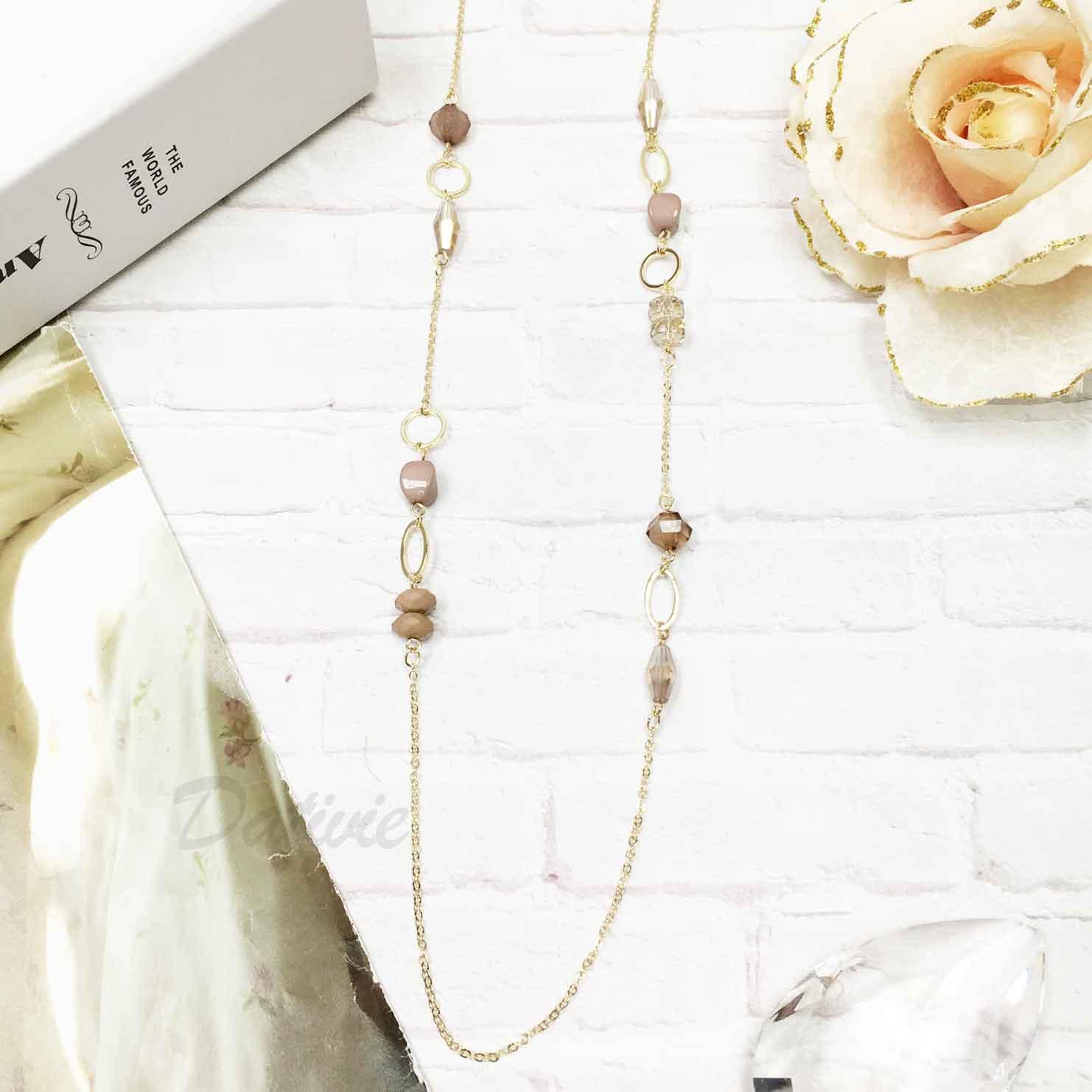 韓國 簡約個性 奶茶色 質感串珠寶石 長項鍊